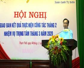 Ủy ban Nhân dân huyện Thạch Thất giao ban kết quả thực hiện công tác tháng 2/2020