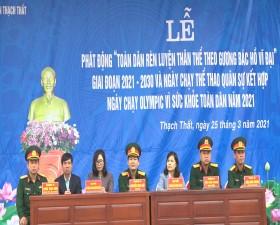"""Ban chỉ huy Quân sự huyện tổ chức Lễ phát động """"Toàn dân rèn luyện thân thể theo gương Bác Hồ vĩ đại"""" giai đoạn 2021- 2030"""
