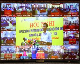 Tiếp xúc trực tuyến giữa cử tri với người ứng cử đại biểu HĐND thành phố Hà Nội, nhiệm kỳ 2021-2026 tại đơn vị bầu cử số 27- huyện Thạch Thất