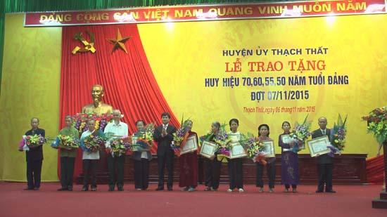 Huyện ủy Thạch Thất trao huy hiệu Đảng đợt 7/11/2015