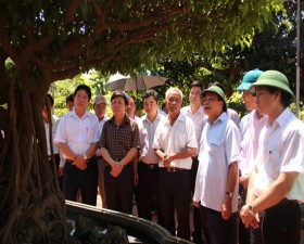 Đồng chí Phạm Quang Nghị - Ủy viên Bộ chính trị - Bí thư thành ủy Hà Nội thăm quan mô hình kinh tế trên địa bàn huyện Thạch Thất.