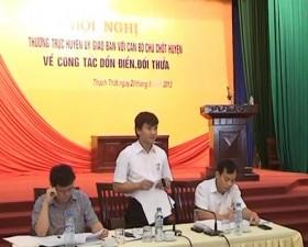 Thường trực huyện ủy giao ban với các cán bộ chủ chốt của huyện về công tác dồn điền đổi thửa