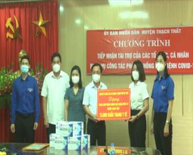 Thạch Thất tiếp nhận ủng hộ công tác phòng, chống dịch Covid-19 do Đảng ủy Khối các Cơ quan thành phố Hà Nội trao tặng