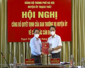 Chỉ định đồng chí Trần Đình Cảnh- Thành ủy viên- Bí thư Huyện ủy giữ chức Bí thư Đảng ủy Quân sự huyện Thạch Thất