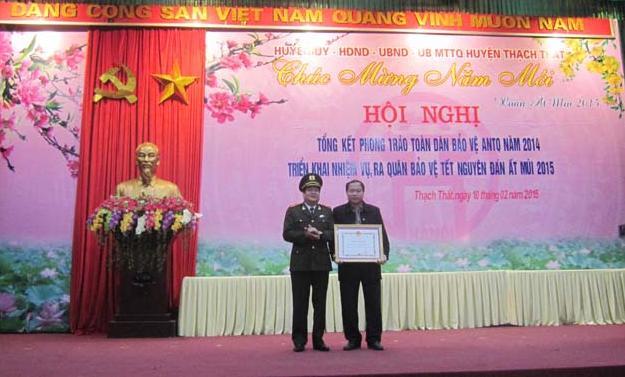 Huyện Thạch Thất tổng kết phong trào toàn dân bảo vệ an ninh tổ quốc năm 2014, triển khai nhiệm vụ năm 2015, ra quân bảo vệ Tết nguyên đán Ất Mùi
