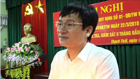Ủy ban Kiểm tra huyện ủy Thạch Thất sơ kết công tác kiểm tra, giám sát 6 tháng đầu năm, triển khai nhiệm vụ 6 tháng cuối năm 2018