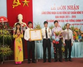 Đại Đồng đón Bằng đạt chuẩn nông thôn mới giai đoạn 2011 2015