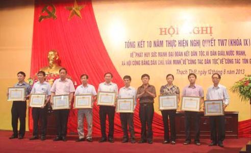 Huyện Thạch Thất  tổng kết 10 năm thực hiện Nghị quyết lần thứ 7 TW khóa IX