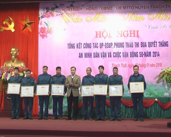 Tổng kết công tác Quốc phòng - Quân sự huyện Thạch Thất năm 2014.