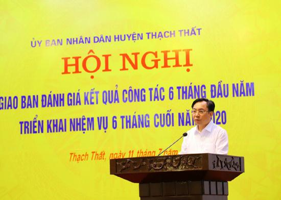 UBND huyện Thạch Thất: Giao ban đánh giá kết quả thực hiện các nhiệm vụ 6 tháng đầu năm 2020