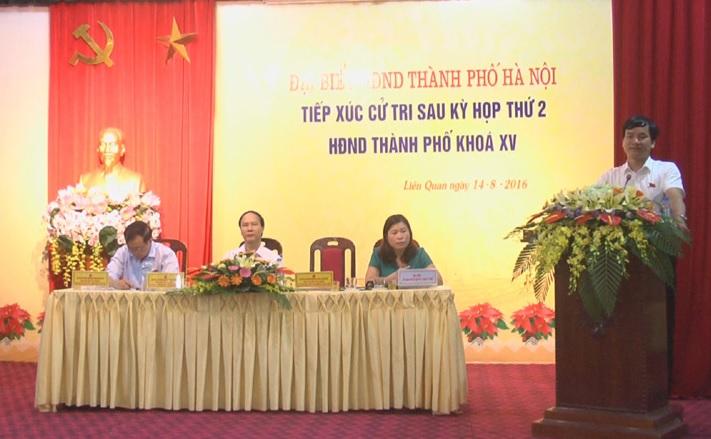 Đại biểu HĐND thành phố Hà Nội tiếp xúc với cử tri thị trấn Liên Quan sau kỳ họp thứ 2 HĐND thành phố khóa XV
