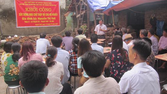 Hội Chữ thập đỏ huyện Thạch Thất khởi công 3 nhà chữ thập đỏ cho hộ gia đình có hoàn cảnh khó khăn