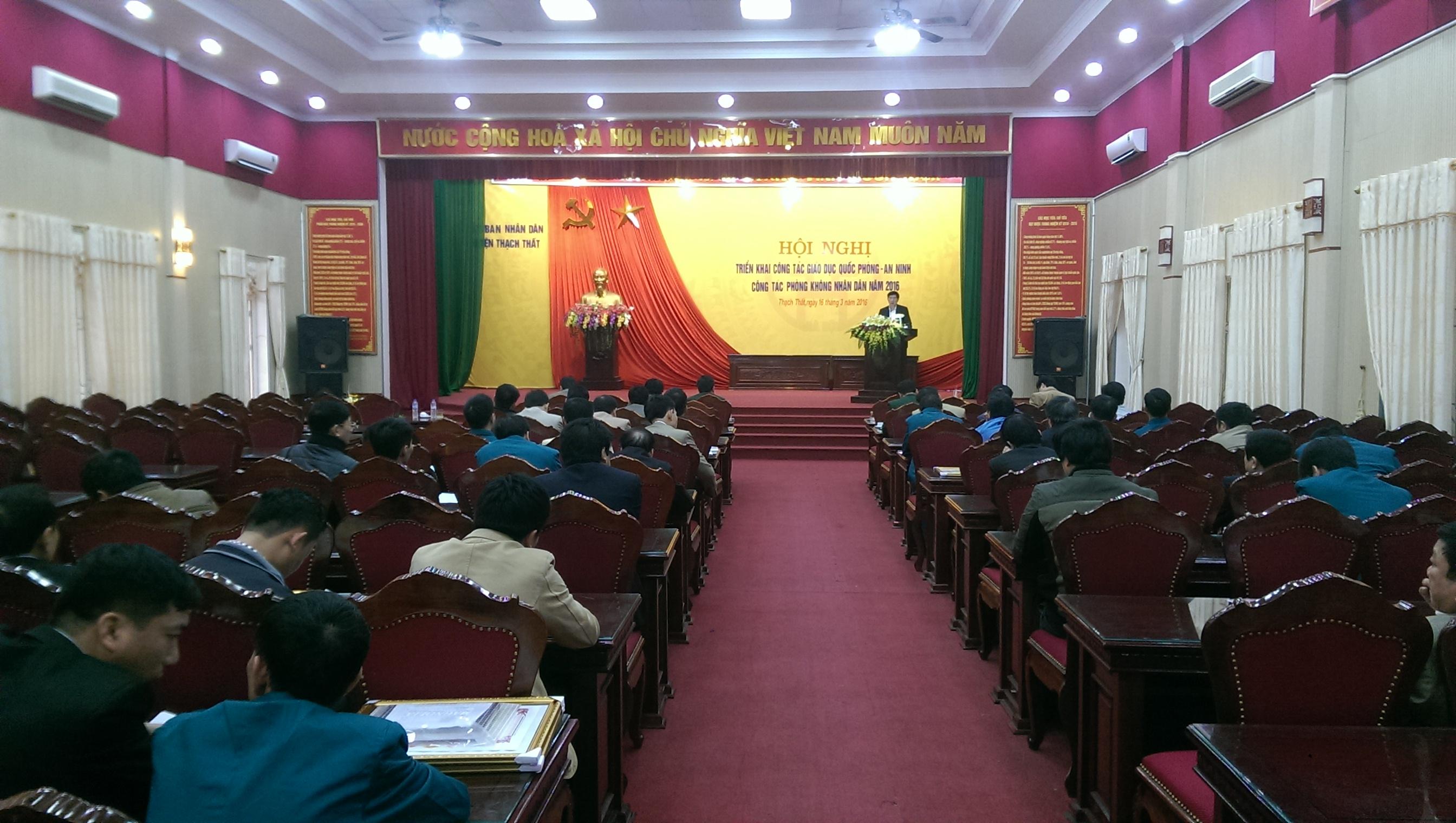 Huyện Thạch Thất triển khai công tác giáo dục quốc phòng an ninh, công tác phòng không nhân dân năm 2016