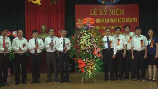 Lễ kỷ niệm 70 năm ngày thành lập Đảng bộ xã Cẩm Yên