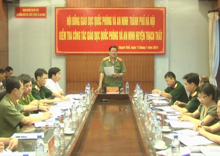 Hội đồng Giáo dục quốc phòng an ninh thành phố kiểm tra công tác giáo dục quốc phòng an ninh huyện Thạch Thất