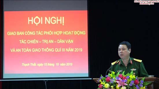 Ban chỉ huy Quân sự huyện giao ban phối hợp hoạt động Tác chiến- Trị an-  Dân vận và An toàn giao thông