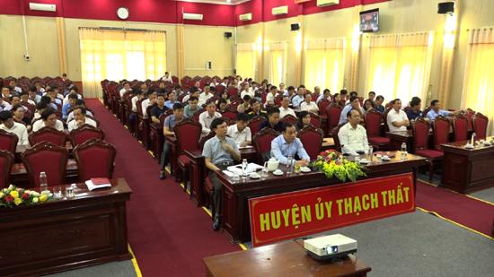 Huyện ủy Thạch Thất tham dự Hội nghị trực tuyến Báo cáo viên Trung ương tháng 9/2020