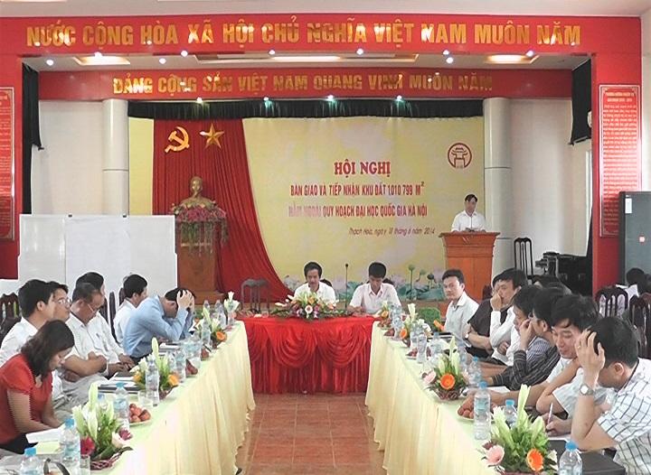 Hội nghị bàn giao và tiếp nhận khu đất 1.010.799m2  nằm ngoài quy hoạch Đại học Quốc gia Hà Nội.