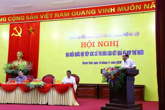Đoàn Đại biểu Quốc hội khóa XIV thành phố Hà Nội tiếp xúc cử tri huyện Thạch Thất sau Kỳ họp thứ 10