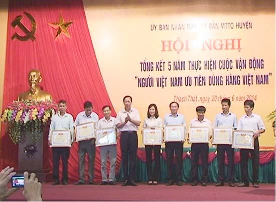 Huyện Thạch Thất tổng kết 5 năm  thực hiện cuộc vân động người Việt Nam ưu tiên dùng hàng Việt Nam