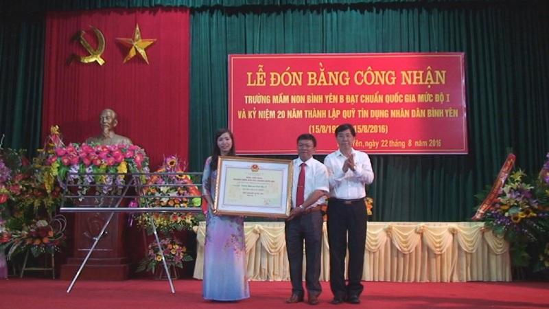 Xã Bình Yên tổ chức Lễ đón bằng công nhận trường Mầm non Bình Yên B đạt chuẩn Quốc gia và kỷ niệm 20 năm thành lập Quỹ tín dụng nhân dân