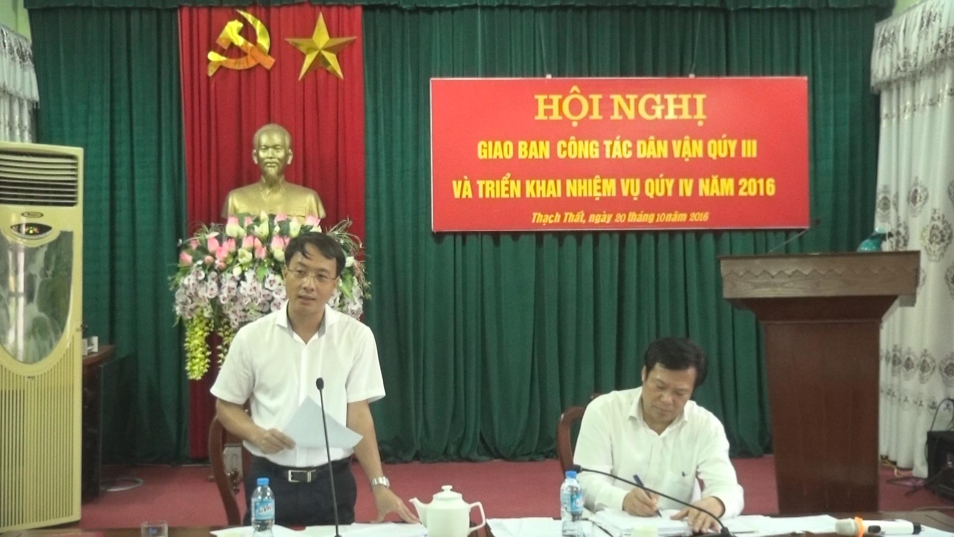 Ban Dân vận Huyện ủy giao ban công tác dân vận.