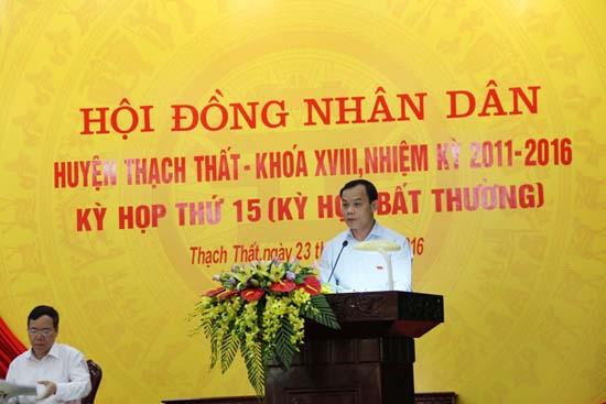 HĐND huyện Thạch Thất khóa XVIII nhiệm kỳ 2011-2016 tổ chức kỳ họp thứ 15.