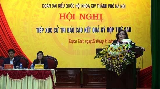 Đoàn đại biểu Quốc hội thành phố Hà Nội tiếp xúc với cử tri huyện Thạch Thất