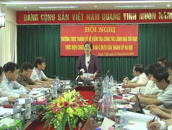 Thường trực Thành ủy về kiểm tra công tác  lãnh đạo, chỉ đạo thực hiện chương trình 08 của Thành ủy Hà Nội