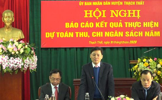 UBND huyện Thạch Thất báo cáo kết quả thực hiện dự toán thu, chi ngân sách năm 2020